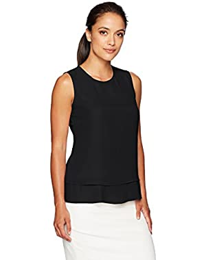 Women's Petite Pleated Back Top