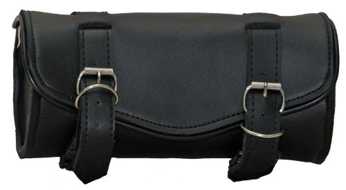 Synthetic Black Leather Plain 2 Quick Release Buckle Motorcycle Tool Bag (Motorcycle Luggage Bag Tool)