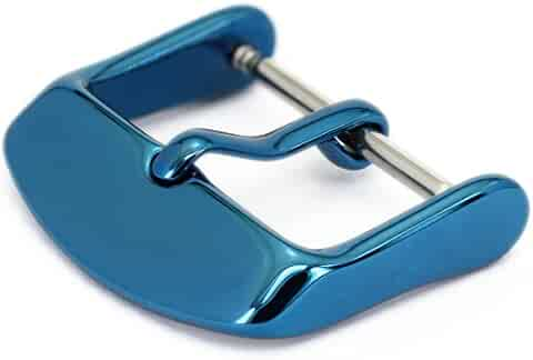 Watch Bands Straps Replacement Buckle Wellfit Watch Watchband Clasp - Choice of Color and Size - Vacuum PVD Finish (18mm, Blue)