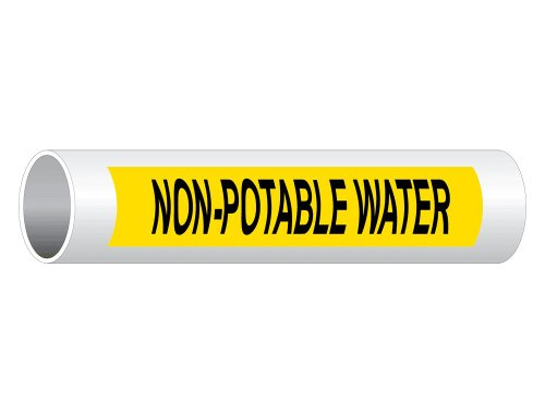 ComplianceSigns Vinyl ASME A13.1 Water Pipe Label, 8 x 2 Inch Yellow 5-pack ()