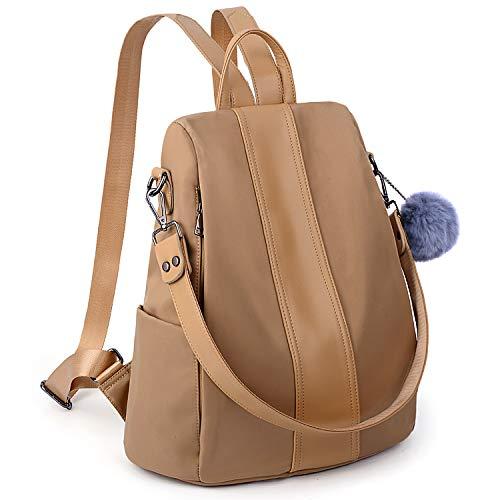 UTO Women Backpack Purse Waterproof Nylon Anti-Theft Rucksack Lightweight School Shoulder Bag-Large Version Apricot