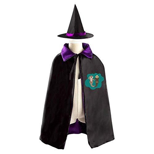 Halloween Costume Children Cloak Cape Wizard Hat Cosplay Otter Couple For Kids Boys Girls by GEEKK