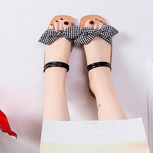 Casual Black Freshzone Sandals Women Sandals Square Slippers Shoes Flat Lattices Toe Beach Heel Bow OTvOx