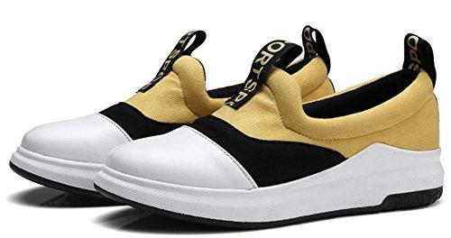 Idifu Kvinna Mode Kontrastfärg Låg Topp Slip På Sneakers Promenadskor Med Låga Klackar Gult