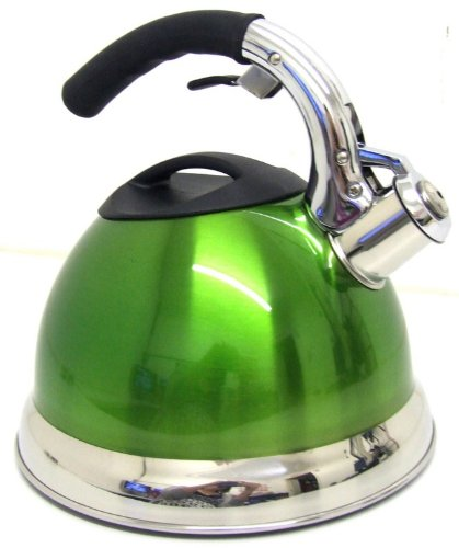 GREEN 3.5L STAIINLESS STEEL LIGHTWEIGHT WHISTLING KETTLE CAMPING FISHING HOME CORDLESS
