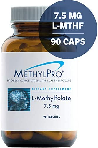 MethylPro 7.5mg L-Methylfolate 90 Capsules – No Fillers, Professional Strength 7500mcg Active Folate, 5-MTHF for Mood, Homocysteine Methylation Immune Support, Non-GMO Gluten-Free