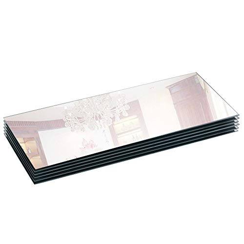 """5""""x12"""" Rectangle Mirror Candle Tray/Plate with Bevel Edge for Wedding, Christmas and Party Décor, set of 6 by Murrey Home"""