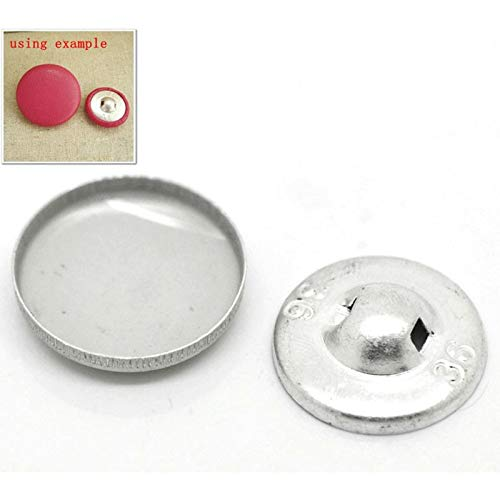 (Button Tool - 100 Sets Aluminum Tone Cover Metal Buttons 21mmx21mm(7/8