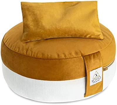 NOVO Wellbeing Zafu Meditation Cushion Yoga Meditation Pillows for Sitting on The Floor Filled with Buckwheat Hulls & Free Weighted Lavender Eye Pillow for Hot and Cold Aromatherapy