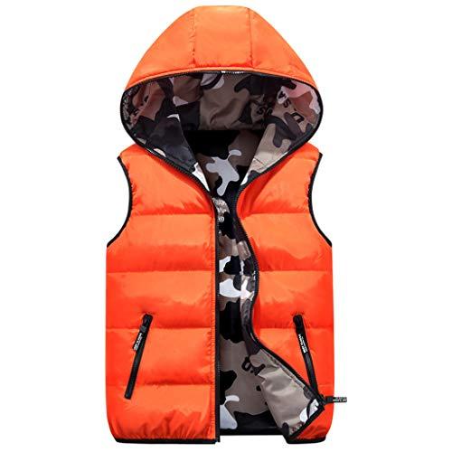 Kids Hooded Gilets Down Body Warmers Vest Omkeerbare Jas Mouwloos Camouflage Winterjas