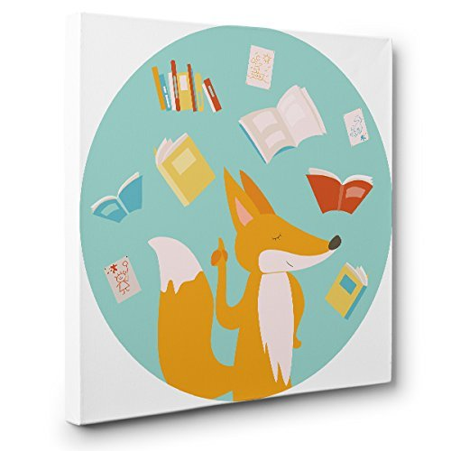 Fox With Books CANVAS Wall Art Home Décor by Paper Blast