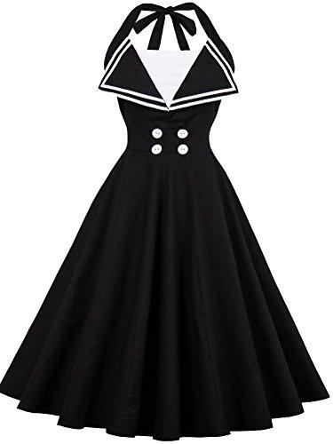 50s Halter Dress (Ayli Women's Halter Neck Sleeveless 50s Vintage Hollywood Midi Swing Dress, Black, 4XL - 02w039)
