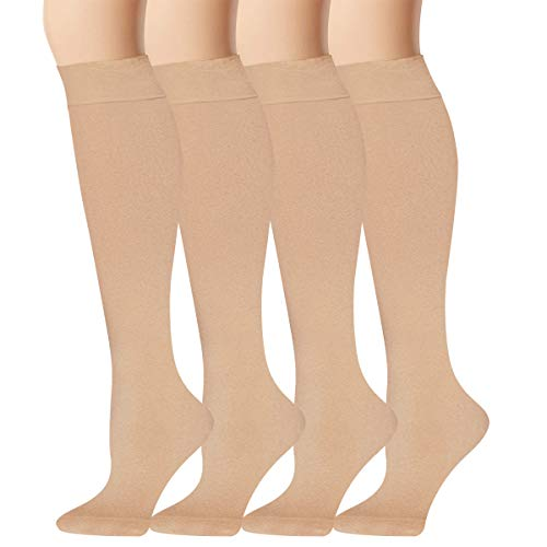 Chalier 4 Pairs Womens Trouser Socks Opaque Microfiber Knee High Stockings 120D Trouser Dress Socks (4 Pairs-nude)
