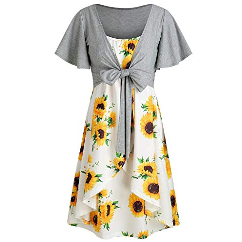 TWGONE Tie Front Midi Dress for Women Short Sleeve Bow Knot Bandage Top Sunflower Print Suits(X-Large,Yellow)