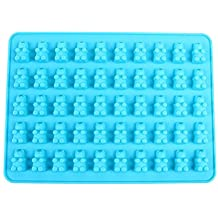 BESTOMZ 50 Cavity Cupcake Silicone DIY Chocolate Candy Cupcake Jelly Baking Mould Mold Ice Cube Tray (Blue)