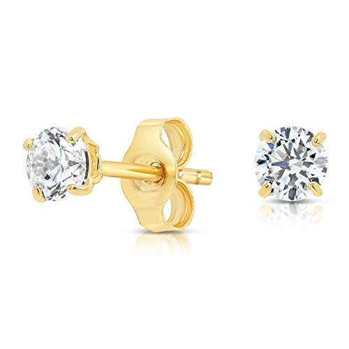 14k Yellow Gold Solitaire Round Cubic Zirconia CZ Stud Earrings with Gold butterfly Pushbacks (4mm)
