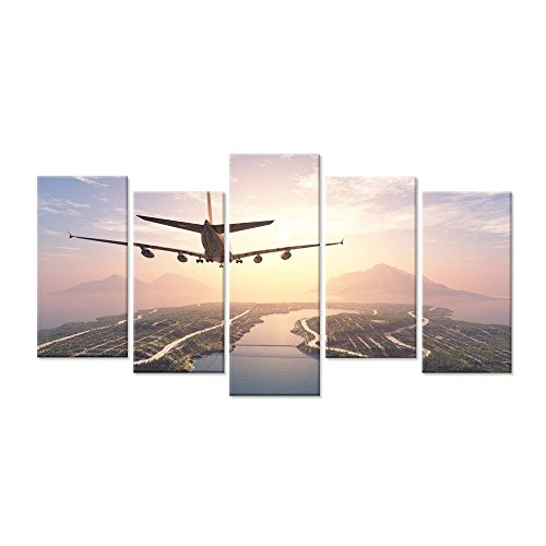 Hello Artwork - 5 Panels Canvas Art Large Airplane Overlooking Panoramic Over Colorful Sunset Amazing Landscape Picture Modern Home Wall Decor for Living - Outlet Hours Lakes Great