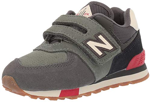 New Balance Boys 574v1 Hook and Loop Sneaker, Camo Green/Team, 8.5 R M US Infant (0-12 Months)