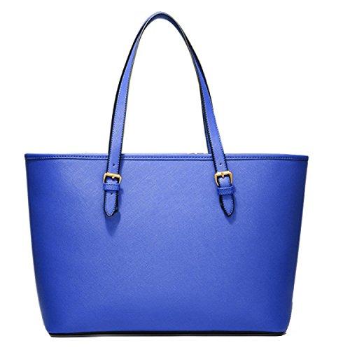 Bolso De Hombro De La Bolsa De Asas De Las Mujeres Bolso De Compras Elegante De La Moda Bolso De Las Señoras Del Cuero De La PU Bolso De Las Señoras Blue