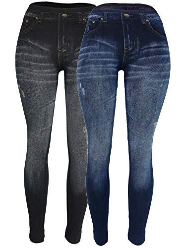 Stretch Denim Leggings (CLOYA Denim Print Fake Jeans (Small/Medium, Bundle 1 Black/Blue))