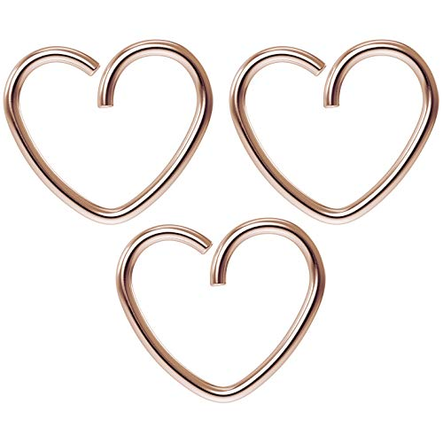 Bling Unique 3pc 18g 3/8 Seamless Rose Gold Heart Hoop Earring Cartilage Tragus Helix Conch Auricle (Gold Small Heart Earrings)