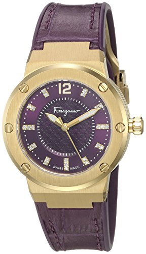 Salvatore-Ferragamo-Womens-F-80-Swiss-Quartz-Stainless-Steel-and-Leather-Casual-Watch-ColorPurple-Model-FIG160016