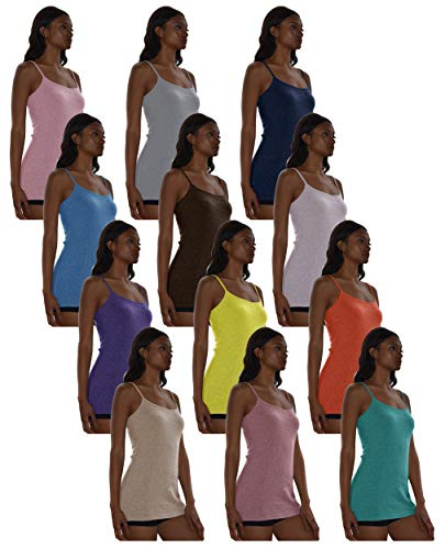 Sexy Basics Women's 5 Pack / 12 Pack Basic Solid Color Cotton Stretch Camisole Adjustable Spaghetti Strap Tank Top (12 Pack - Wow Assorted Color Blast, XXX-Large)