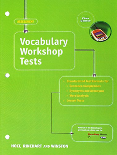 Holt Vocabulary Workshop Tests: First Course (Elements of Language)