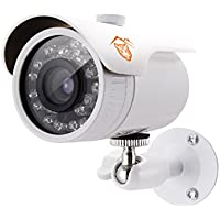 TIGERSECU 900TVL Weatherproof Outdoor IP66 Bullet Security Camera, 45ft Night Vision (White), Power supply and coaxial video cable are not included