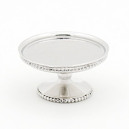 Odoria 1:12 Miniature Sliver Cake Stand Dessert Tray Centerpiece Dollhouse Kitchen (Accessories Cake Plate)