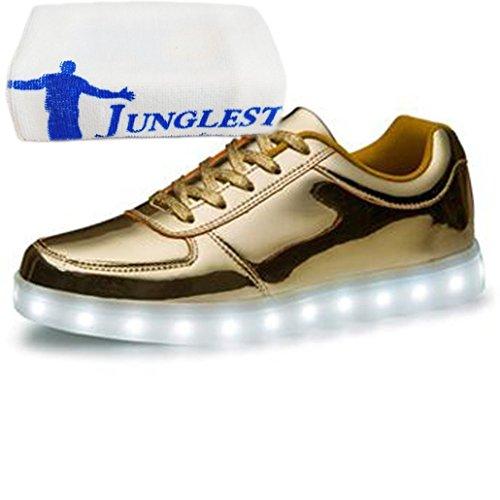 (Present:small towel)JUNGLEST® Womens Mens 7 Colors Light USB Charging LED Light-Up Sport Shoes Fl Gold JjUQ8bI