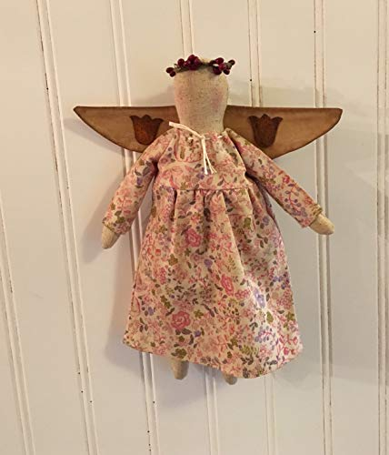 Folk Art Primitive Farmhouse Spring Easter Angel Doll Pip Berry Halo