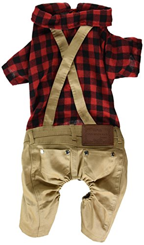 SMALLLEE_LUCKY_STORE Pet Clothes for Small Dog Cat Red Plaid Shirts Sweater with Khaki Overalls Pants Jumpsuit Outfits XL