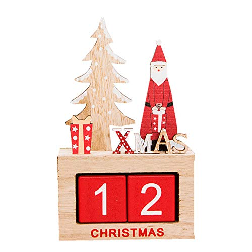 """Sweet Homes & Gardens Santa Claus Christmas Advent Count Down Calendar Wooden 10"""" Tall Holiday Décor (B) from Sweet Homes & Gardens"""