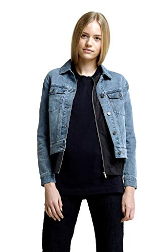 Hoodlamb Hemp Denim Jacket for Women - Blue Jean Top with Pockets, Vintage Style - Stretchy Hemp/Organic Cotton Blend