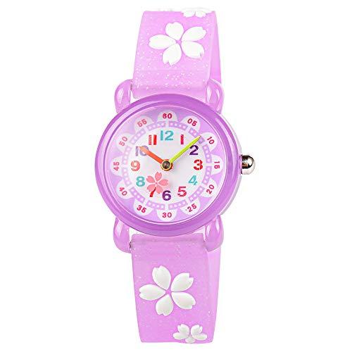 3D Cute Cartoon Waterproof Sport Silicone Children Toddler Wrist Watch Time Teacher Birthday Gift for 3-10 Year Boys Girls Little Child-Purple Sakura ()