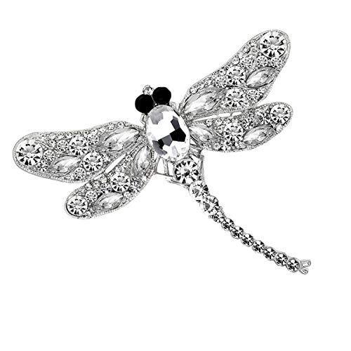 - seven wolves Austrian Crystal Wedding Flower Wreath Brooch Pin Dragonfly Brooch Big and Beautiful Dress Brooch, White A
