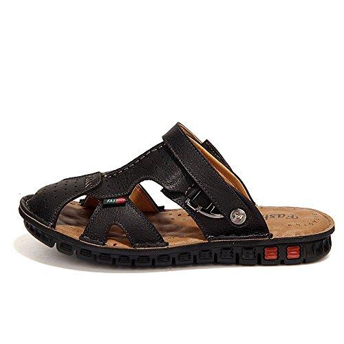 Nouveau Marée À Suede Chaussures Cuir Cousu Doux Usage Hommes Coréenne Double Main Plage La Cuir à Noir Sandales XIAOQI Chaussures r0qpSrwax