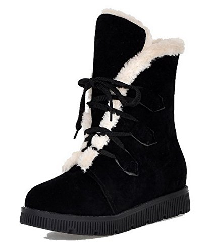 Frosted Boots Closed Round Solid Top Women's Black Toe Low Low WeenFashion Heels 6vYTxnq
