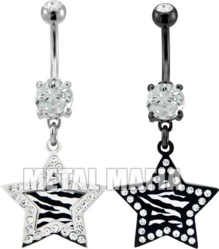 Zebra Print Star Belly Ring With Gems - Clear -
