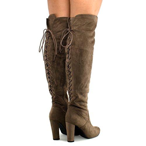 Premier Standard Damen Oberschenkel Hohe Stretch Boot - Trendy High Heel Schuh - Sexy Overknee Pullon Boot - Bequeme Easy Heel Premier Dunkeltaupe