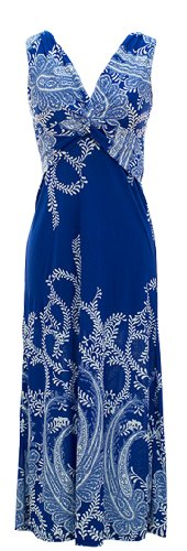 Peach Couture® Paisley Knotted Maxi Dress (X-Large, Blue)