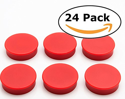 Bullseye Office Magnets (24 Pack) - Red Round, Refrigerator Magnets - Perfect as Whiteboards, Lockers, or Fridge Magnets [Red]