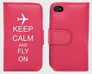 Pink Apple iPhone 5 5s 5LP340 Leather Wallet Case Cover Keep Calm and Fly On Airplane