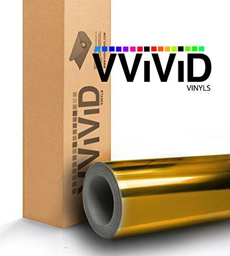 VViViD Gloss Chrome Gold Vinyl Wrap Adhesive Film Roll Air Release DIY Decal Sheet (6