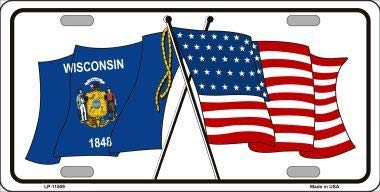 Bargain World Wisconsin Crossed US Flag License Plate (Sticky Notes)