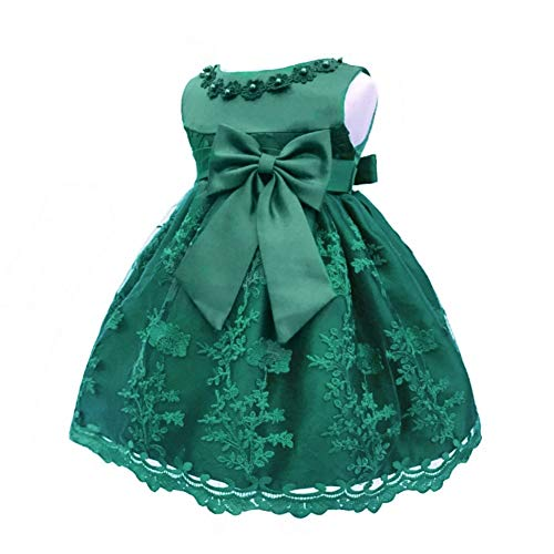 LZH Baby Girls Birthday Christening Dress Baptism Wedding Party Flower Dress (8135-Dark Green,3M)