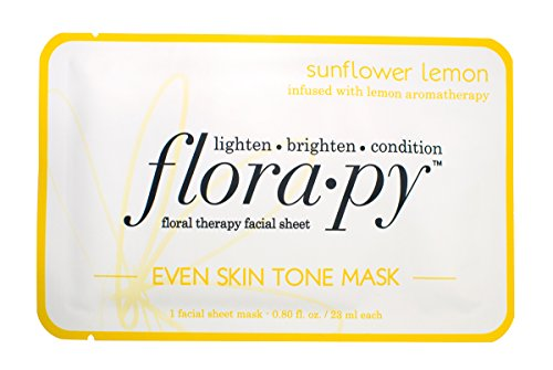 Florapy Beauty Even Skin Tone Sheet Aromatherapy Mask, Sunflower Lemon, 5 Count