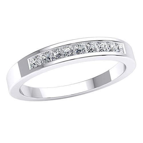 Gift JewelWeSell 14k White Gold Wedding Band For Women 0.33 Cttw Natural PrIncess Cut Diamond (GH Clarity, SI2 Color) Classic Bridal Ring Size 7