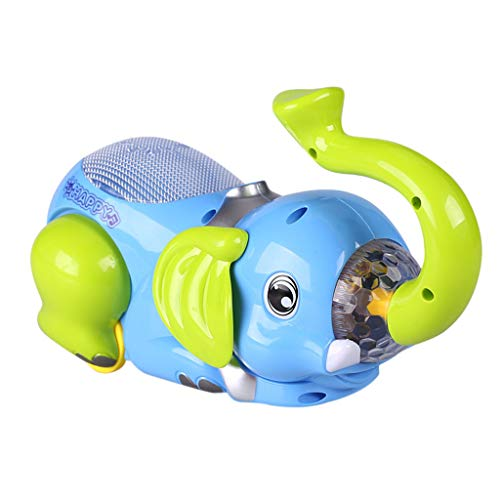 (FIged Kids Toys, Musical Elephant Car Baby Toy 360°Tipping Bucket Electronics Portable Early Learning for Toddler Baby Halloween Christmas Birthday)